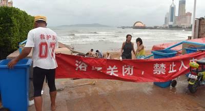 В Китае введён «жёлтый» уровень опасности из-за супертайфуна